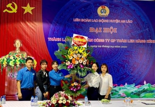 Liên đoàn Lao động huyện An Lão tổ chức Đại hội thành lập CĐCS Công ty cổ phần thảm len Hàng Kênh