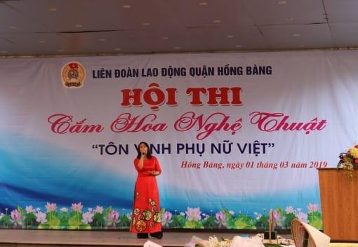 Liên đoàn Lao động quận Hồng Bàng tổ chức Hội thi cắm hoa nghệ thuật