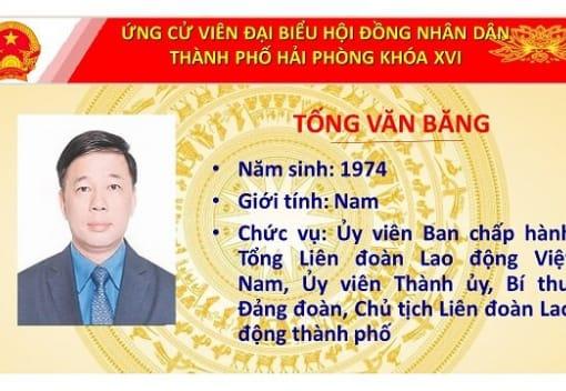 Chương trình hành động của đồng chí Tống Văn Băng, Chủ tịch Liên đoàn Lao động thành phố Hải Phòng ứng cử viên Đại biểu Hội đồng nhân dân thành phố khóa XVI, nhiệm kỳ 2021-2026