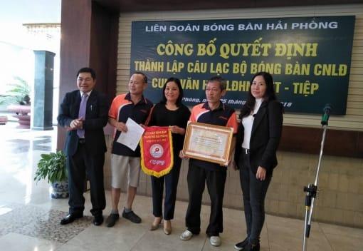 Công bố Quyết định công nhận CLB Bóng bàn CNLĐ Cung Văn hóa LĐHN Việt - Tiệp, thành viên của Liên đoàn Bóng bàn thành phố Hải Phòng