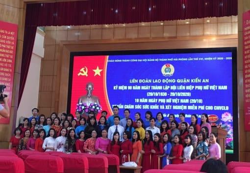 Liên đoàn Lao động quận Kiến An tổ chức Hội nghị kỷ niệm 90 năm Ngày thành lập Hội liên hiệp phụ nữ Việt Nam 20/10.