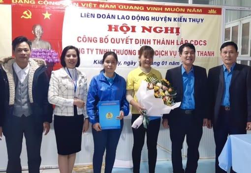 Liên đoàn Lao động huyện Kiến Thụy tổ chức Hội nghị thành lập công đoàn cơ sở