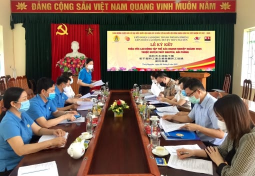 Liên đoàn Lao động huyện Thủy Nguyên tổ chức Lễ ký kết thỏa ước lao động tập thể các doanh nghiệp ngành Nhựa trên địa bàn huyện