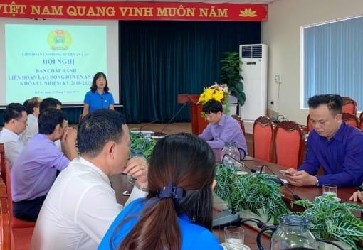 Liên đoàn Lao động huyện An Lão tổ chức Hội nghị sơ kết phong trào CNVCLĐ và hoạt động Công đoàn 9 tháng năm 2020.
