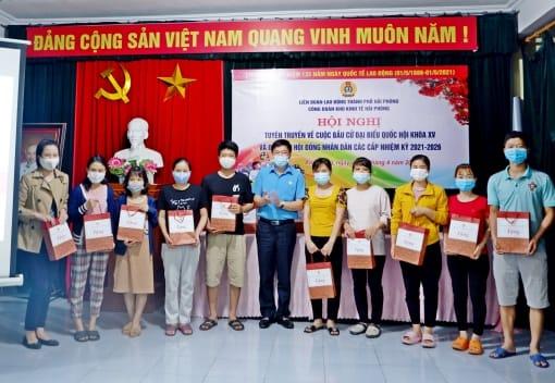 LĐLĐ thành phố: Tuyên truyền về cuộc bầu cử đại biểu Quốc hội khóa XV và đại biểu Hội đồng nhân dân các cấp nhiệm kỳ 2021-2026 cho công nhân lao động tại khu nhà trọ xã Tân Tiến, huyện An Dương