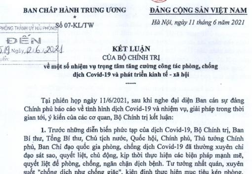 Kết luận số 07-KL/TW của Bộ Chính trị về công tác phòng, chống dịch Covid-19