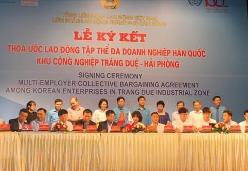 19 doanh nghiệp Hàn Quốc tại Hải Phòng ký kết thỏa ước lao động tập thể