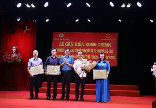 Liên đoàn Lao động thành phố gắn biển công trình chào mừng Đại hội Đảng bộ thành phố lần thứ XVI