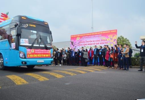 130 chuyên xe đưa công nhân lao động ngoại tỉnh về quê đón tết