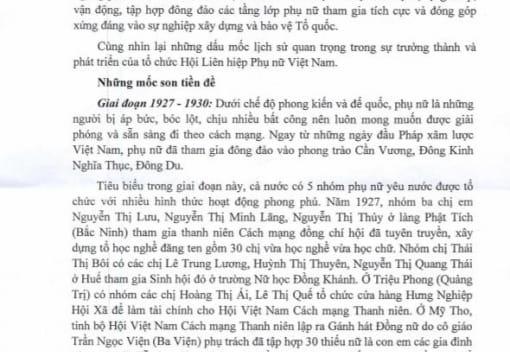 Đề cương tuyên truyền kỷ niệm 90 năm Ngày thành lập Hội Liên hiệp Phụ nữ Việt Nam (20/10/1930 - 20/10/2020)