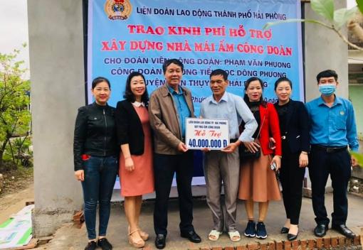 LĐLĐ thành phố trao hỗ trợ xây nhà Mái ấm Công đoàn tại huyện Kiến Thụy