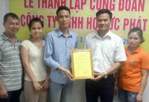 Liên đoàn Lao động huyện Tiên Lãng thành lập Công đoàn công ty TNHH HQ Đức Phát
