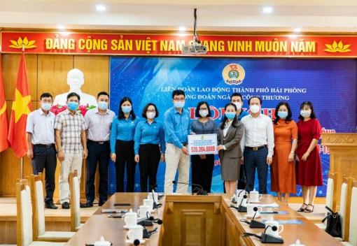 Công đoàn ngành Công Thương Hải Phòng tổ chức Hội nghị tiếp nhận kinh phí vận động ủng hộ công nhân lao động khó khăn các tỉnh phía Nam