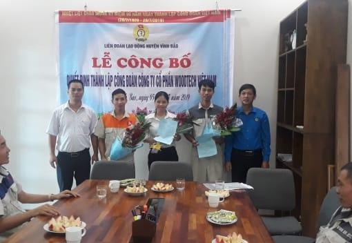 Liên đoàn Lao động huyện Vĩnh Bảo công bố Quyết định thành lập CĐCS