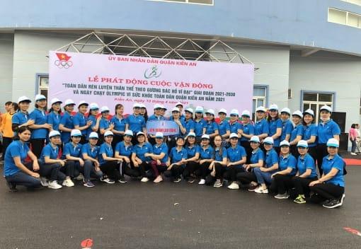 Liên đoàn Lao động quận Kiến An tham gia Ngày chạy Olympic vì sức khỏe toàn dân quận Kiến An năm 2021