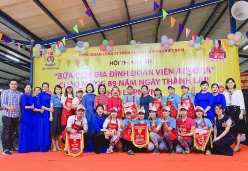"""Công đoàn công ty TNHH CN giầy Aurora Việt Nam tổ chức hội thi nấu ăn với chủ đề """" Bữa cơm gia đình đoàn viên Aurora"""""""