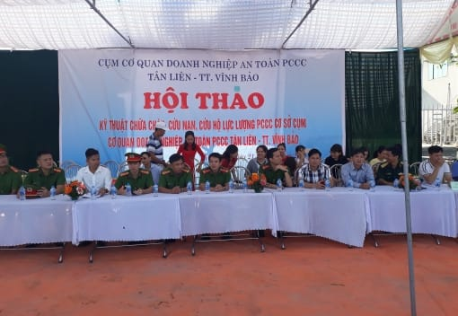 Cụm khối doanh nghiệp huyện Vĩnh Bảo tổ chức tổ chức hội thao kỹ thuật chữa cháy, cứu nạn, cứ hộ