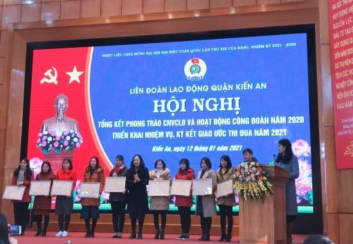 Liên đoàn Lao động quận Kiến An tổ chức Hội nghị tổng kết hoạt động công đoàn và phong trào CNVCLĐ năm 2020, triển khai nhiệm vụ, ký giao ước thi đua năm 2021