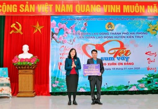 LĐLĐ huyện Kiến Thụy biểu dương đảng viên là CNVCLĐ tiêu biểu; tổ chức Tết sum vầy năm 2020