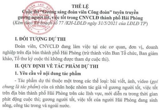 """Cuộc thi """"Gương sáng đoàn viên Công đoàn"""" tuyên truyền gương người tốt, việc tốt trong CNVCLĐ thành phố Hải Phòng"""